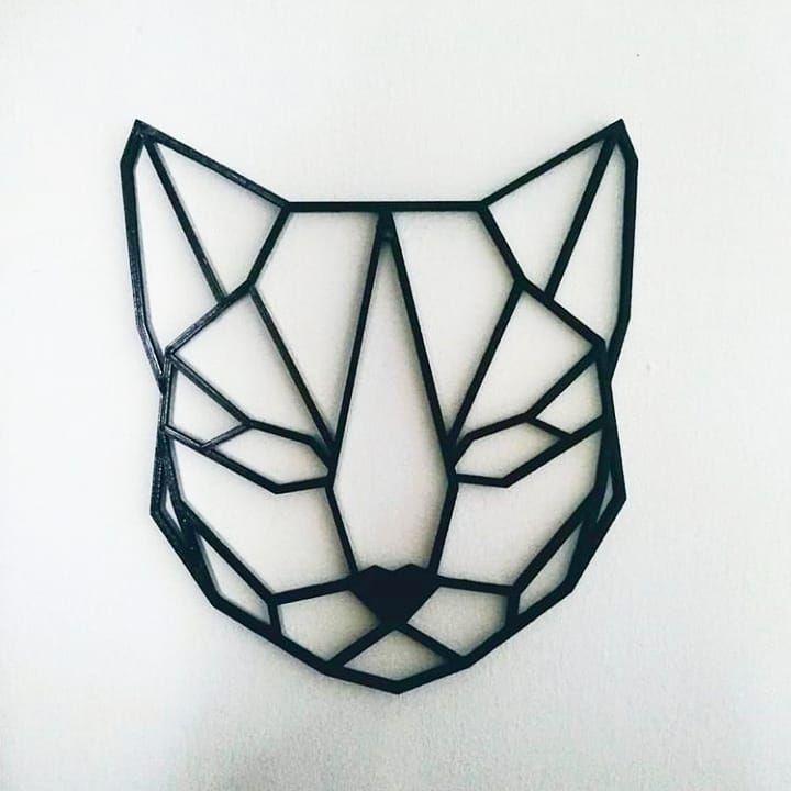 Geometric Kitten Face I 3d Printed Ideas Geometric Design Art Geometric Geometric Cat