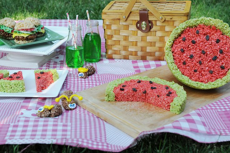 Cute watermelon and hamburger rice krispies treats via @Kristen Wogan Doyle