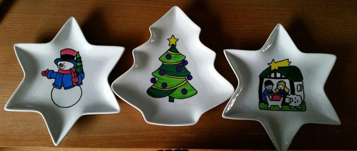 kerst servies beschilderd