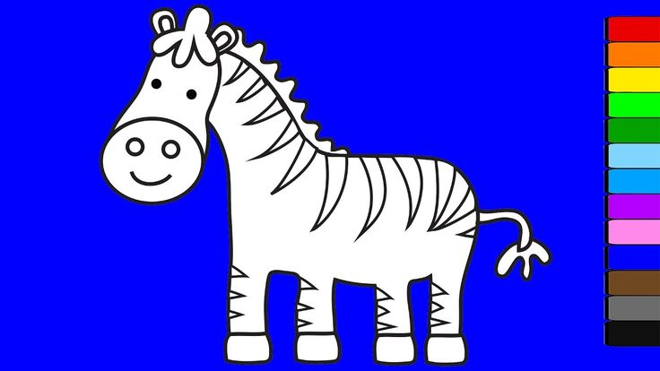 Learn colors for kids with animals | Zebra coloring pages | Coloring vid...