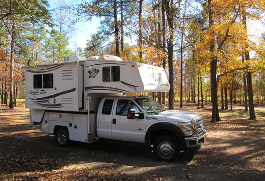 AWESOME! This is the closest yet to what I want when we don't need all the space in our current RV.  It's a standard F-550 truck chassis with a custom Douglass Truck Bodies camper body fitted to the Arctic Fox 990S.  We could pick whatever truck camper we wanted, and even change it later.  Storage compartments are much more secure than most RVs.  I could mount the batteries and inverter in the truck so I'd have power even without the camper.  The truck would be great for upsizing to a 5ver…