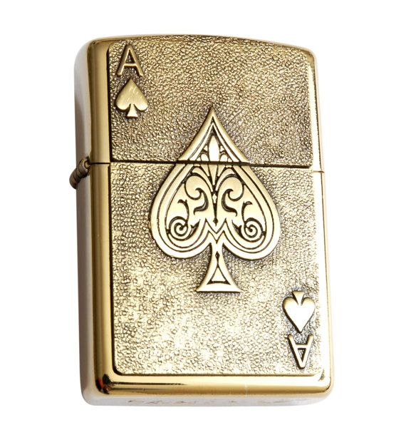 Star Cigarette Lighter with Antique Gold Lucky Ace of Spades Emblem,  Complete with Metal Gift Tin, Stunning. Zippo ...