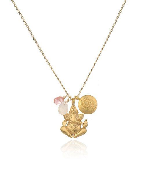 """【Satya サティア】CLEAR THE PATH NECKLACE  """"愛とやさしさの象徴""""とされるローズクオーツと幸福をもたらすチェリークオーツの2つのピンクの石がアクセントのジュエリー。"""