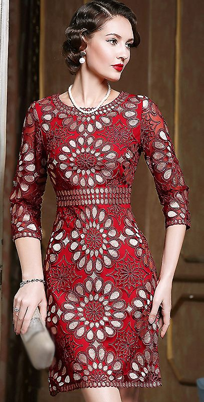 Vintage O-Neck Embroidery Hollow Out Bodycon Dress
