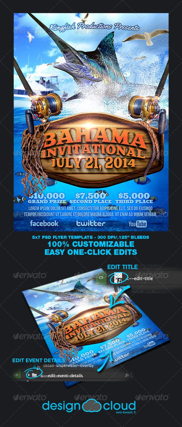 Fishing Tournament Flyer Template. A Design Cloud Photoshop Flyer Template. Available Exclusively from Graphic River.