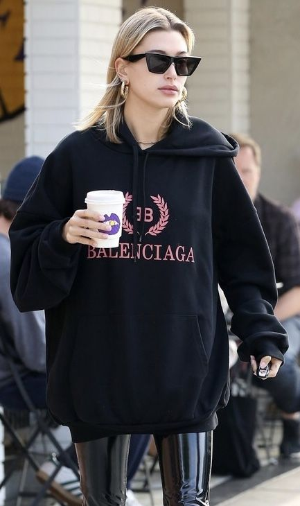 72d125b441f10 BB BALENCIAGA Cotton Drawstring Hoodie w  Kangaroo Pockets gets a coffee  run with HAILEY BALDWIN