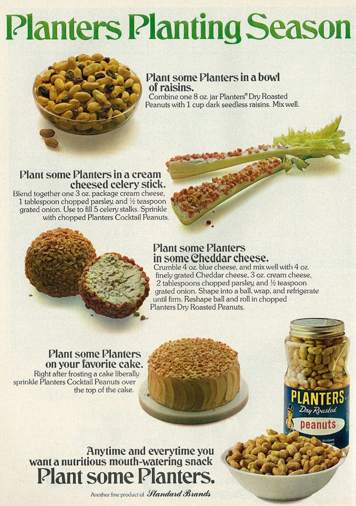 "1975 Food Ad, Planters Peanuts, ""Planters Planting Season,"" Appetizer Tips/Recipes 