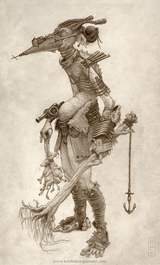 eine Sammlung erstaunlicher / gruseliger Zeichnungen mit Hintergrundgeschichten von Keith Thompson
