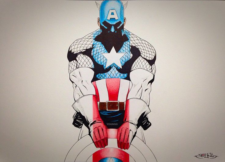 Captain America  A3  Pen and Coloured Pencil