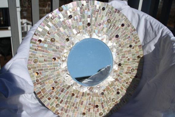 Cream Irridescent Mosaic Mirror One of a Kind