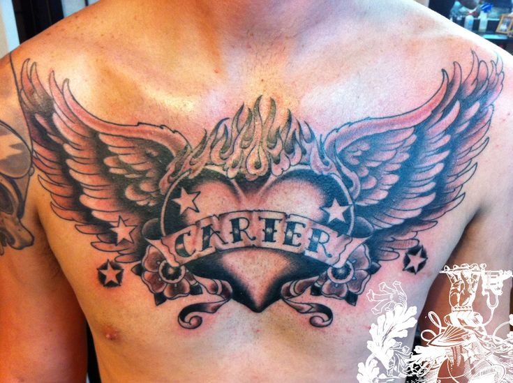 Open Heart Chest Tattoo Angel chest tattoo images & designs