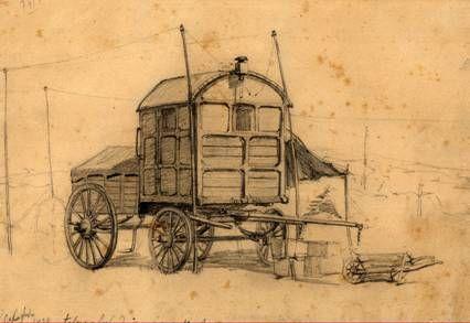 Telegraf de campanie – Desen în creion