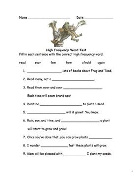 High Frequency Word Test Frog And Toad Together