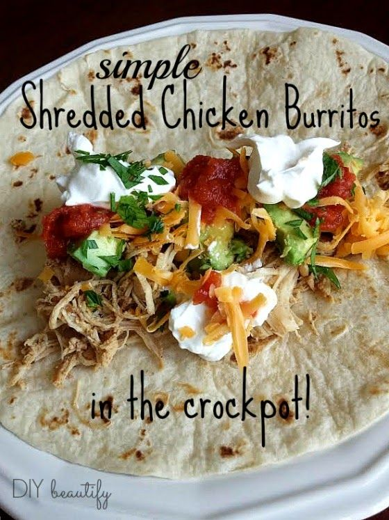 Easy shredded chicken burrito recipe, made in the crock pot! www.diybeautify.com