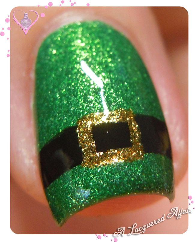 St. Patrick's Day nail art - Leprachaun's outfit