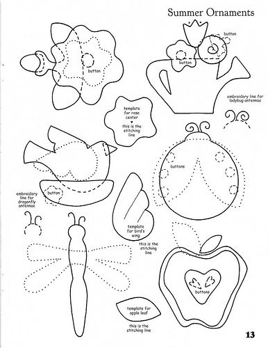 Summer appliqué templates
