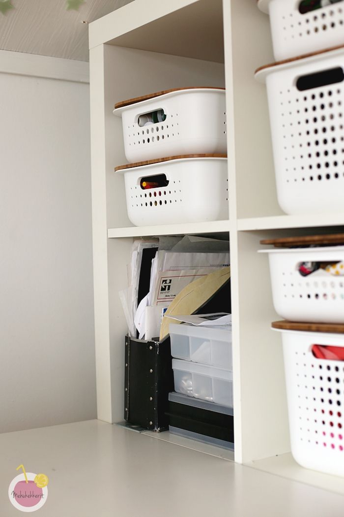 White SmartStore™ Baskets with bamboo lids