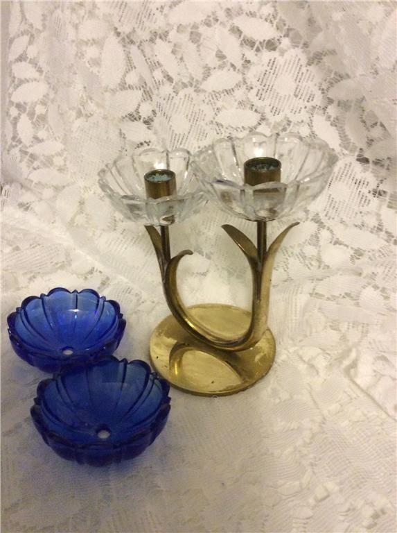 Annons på Tradera: Ljusstake mässing Gunnar Ander Ystad metall  4 glas manschetter medföljer