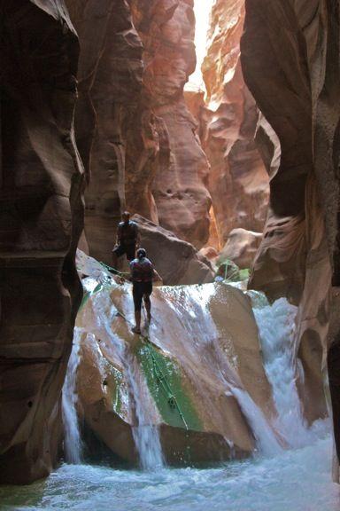 Waterfalls, Wadi Mujib, historically known as Arnon, in the (Hashemite Kingdom of) Jordan in, The Middle East