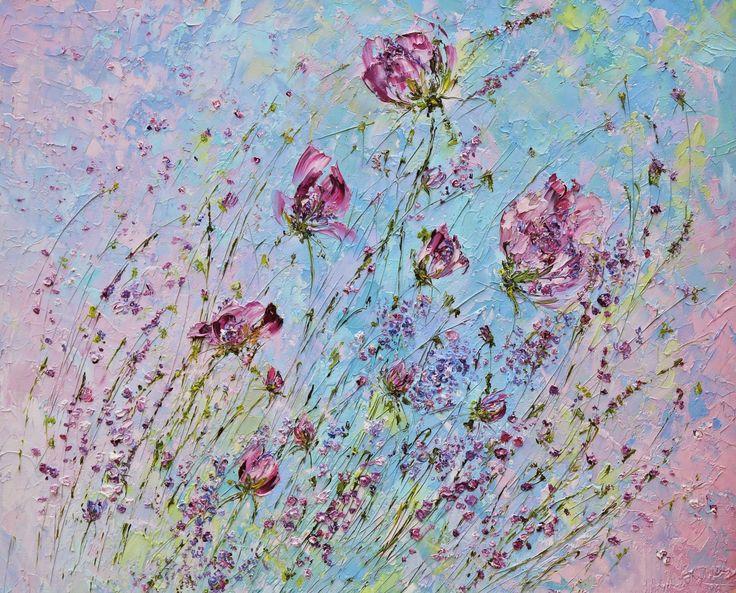 Летняя картина маслом с цветами. Розовые пионы. Марина Маткина.