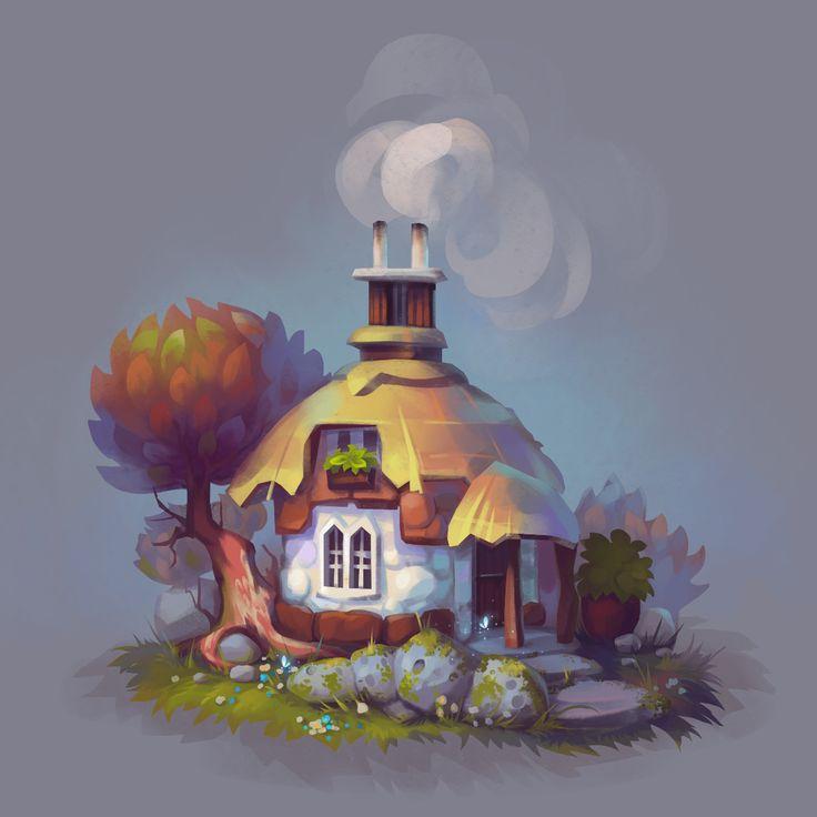 Cartoon houses, Josephine Sun on ArtStation at https://www.artstation.com/artwork/1wkZX