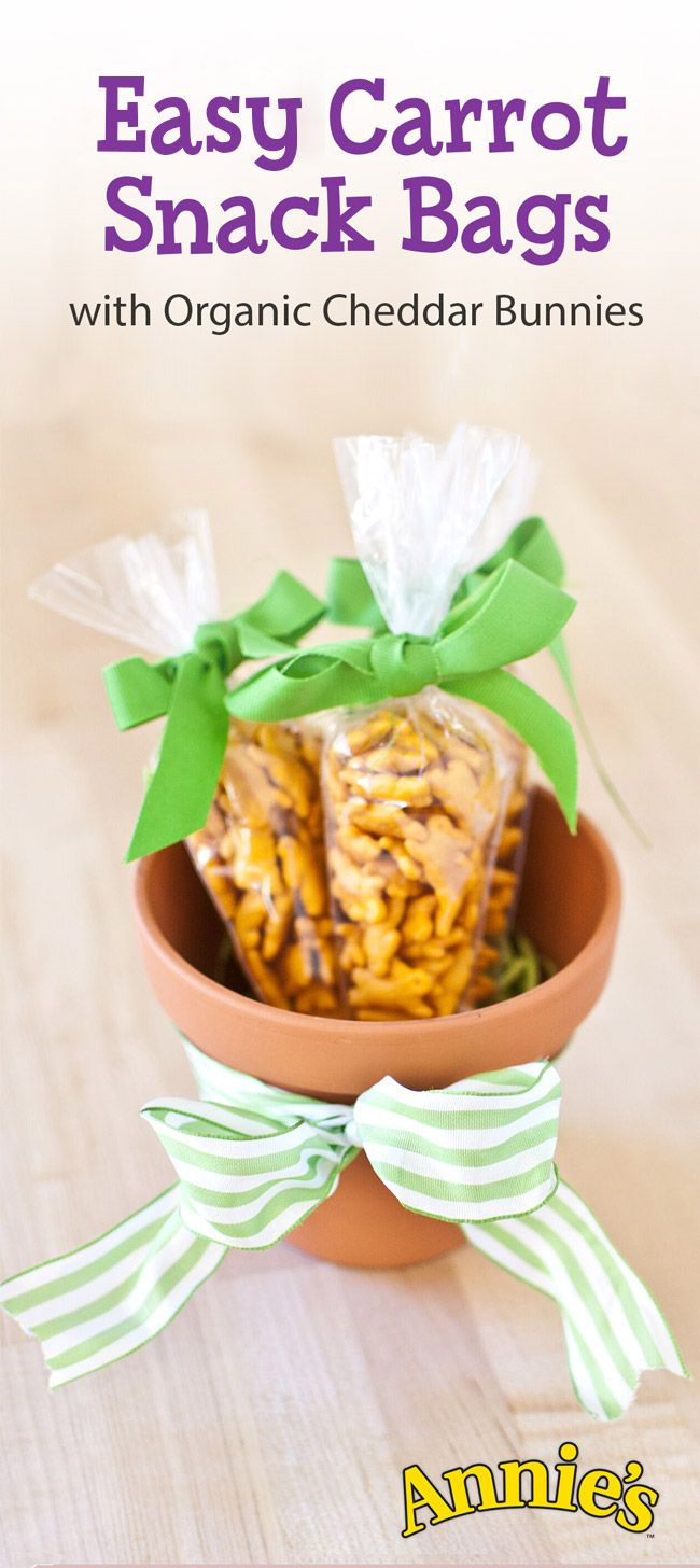 These easy Cheddar Bunny carrots may be the most adorable thing to hop into your Easter basket this year! Just fill a pastry bag with Annie's Organic Cheddar Bunnies, tie with a ribbon, and voila! You've got instant, snackable cuteness.