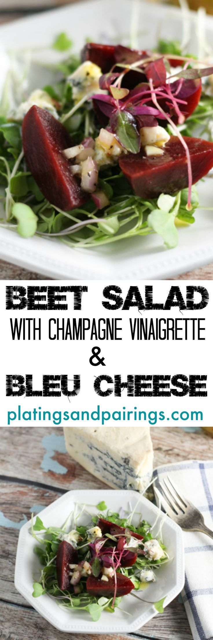 A simple salad of Roasted Beets dressed with Bleu Cheese