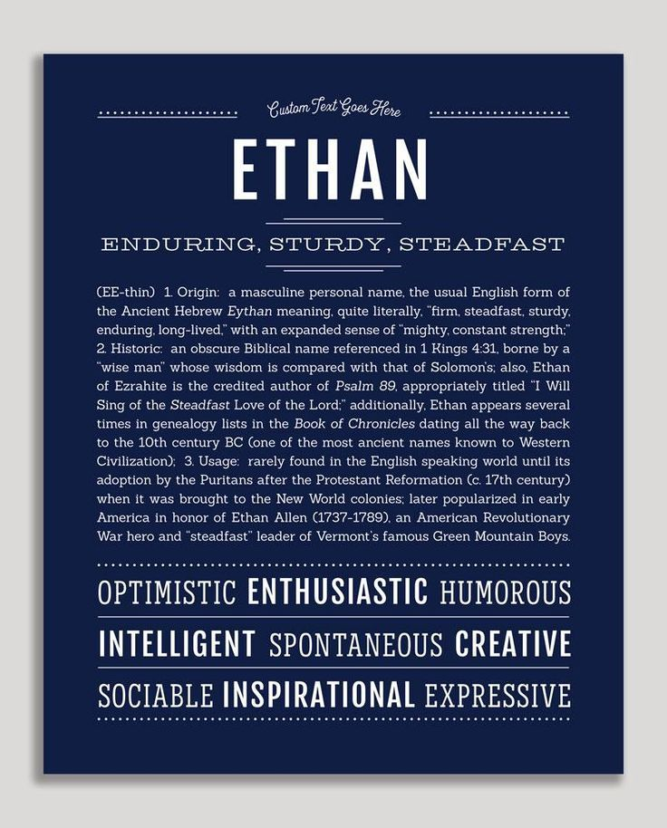 Ethan   Classic Name Print   Classic names, Personalized ...