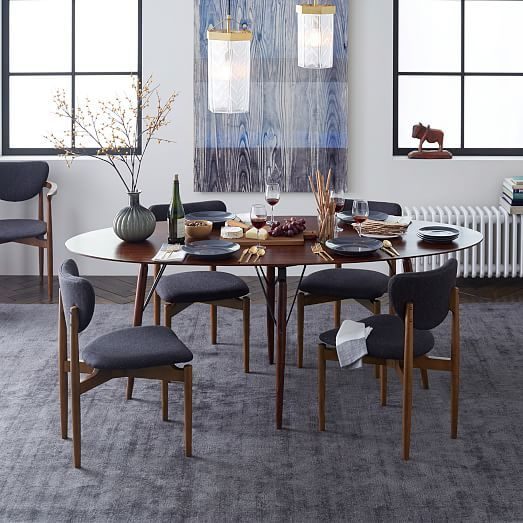 Andrea French Country Tufted Sand Long Dining Bench Banquette: Birch Print - Blue Wood Grain