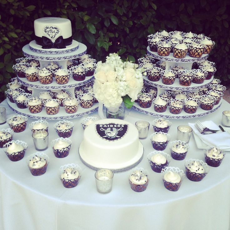 Wedding with Raiders groom's cake by Donna Belle Desserts.