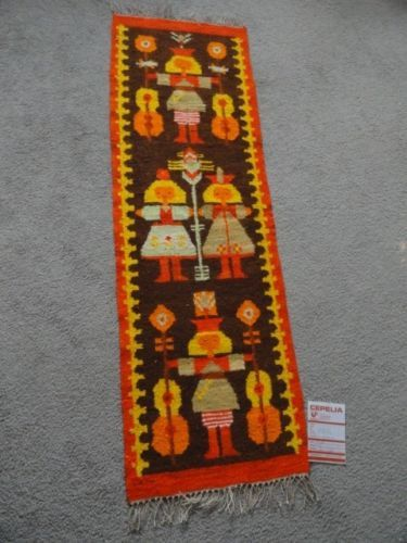 1970s Vintage Polish Kilim Rug Weaving CEPELIA Oringinal Tag Poland Girls Tapestry