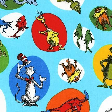 Celebrate Dr Seuss Slicker Laminated Cotton Fabric - Aqua Fabulous, fun Dr Seuss print laminated cotton fabric, with motifs on a blue background $8.00 #drseuss #americandesignerfabric