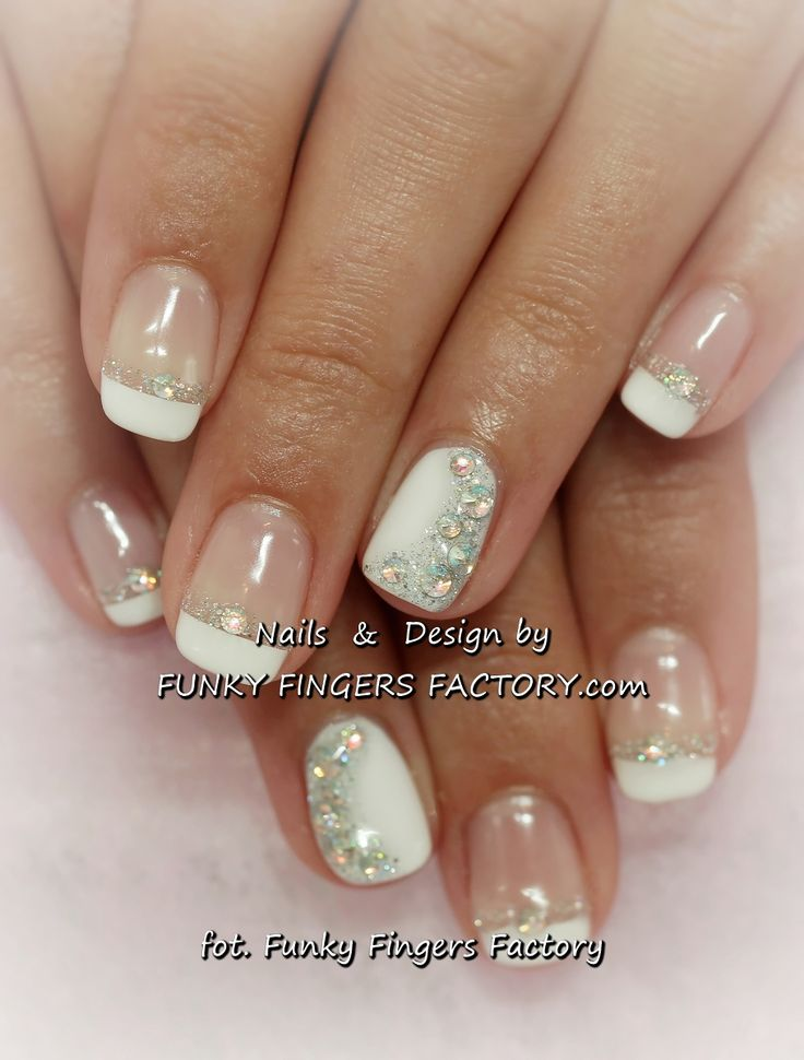 Gelish French manicure with Aurora Borealis Swarovski crystals by www.funkyfingersfactoy.com