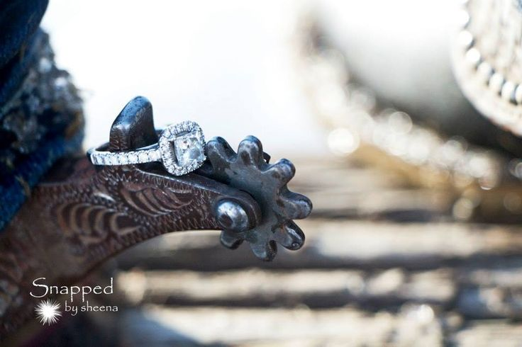 Western Engagement photo - Snapped by Sheena (Edmonton photographer). I love my ring! Halo setting with 1 carat princess cut centre diamond