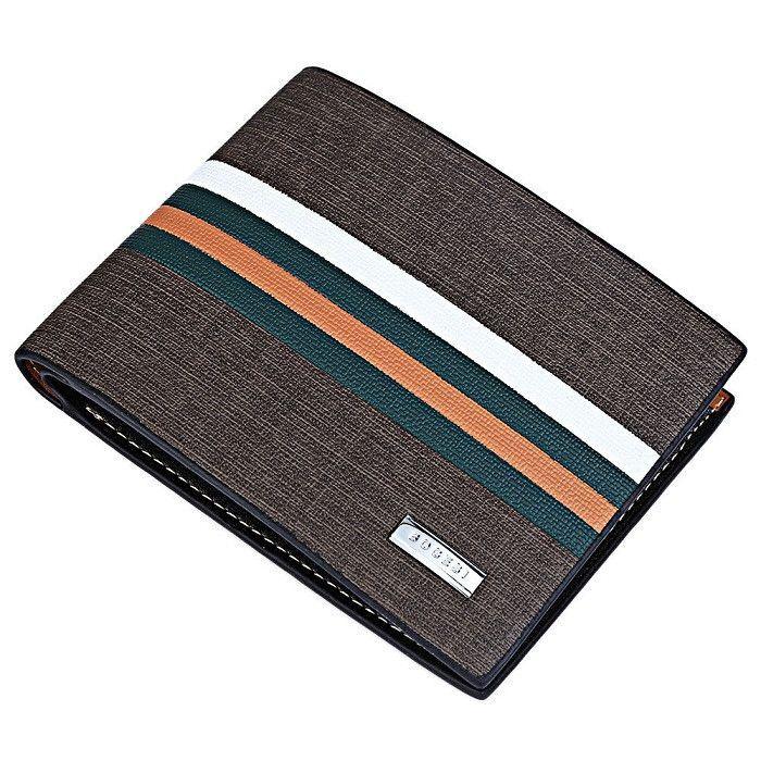 2016 designer luxury brand Brown Striped money clip men's leather clutch bag wallet male purse PU leather wallet men wallets