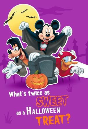 Mickey Mouse Twice As Sweet Halloween Card | Let a sweet friend or loved one know you're thinking about them with this Halloween card featuring Mickey Mouse and the gang in their spooky costumes. Hallmark has so many great Halloween cards to celebrate the spookiest day of the year!