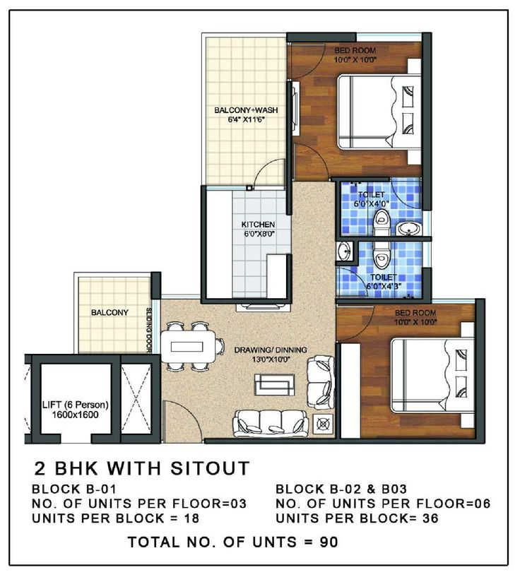 2 BHK APARTMENT FLOOR PLAN http://www.nethomes.in/projects.php