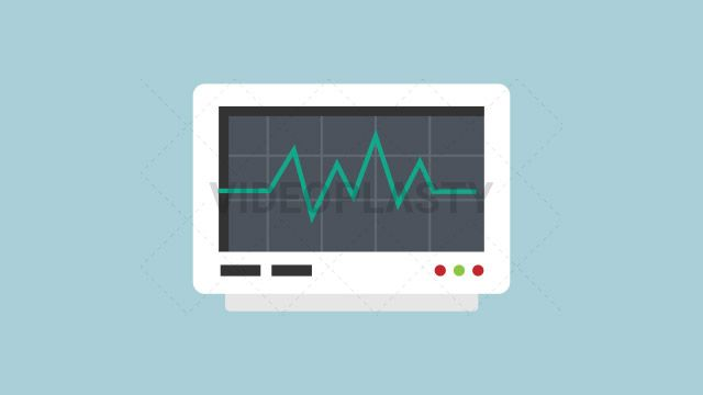 An animated icon of a white heart rate monitor with a green line designed in flat design style. Three version are included:in/out loop andin (can be extended with the loop version) Clip Length:10 seconds Loopable: Yes Alpha Channel: Yes Resolution:FullHD Format: Quicktime MOV