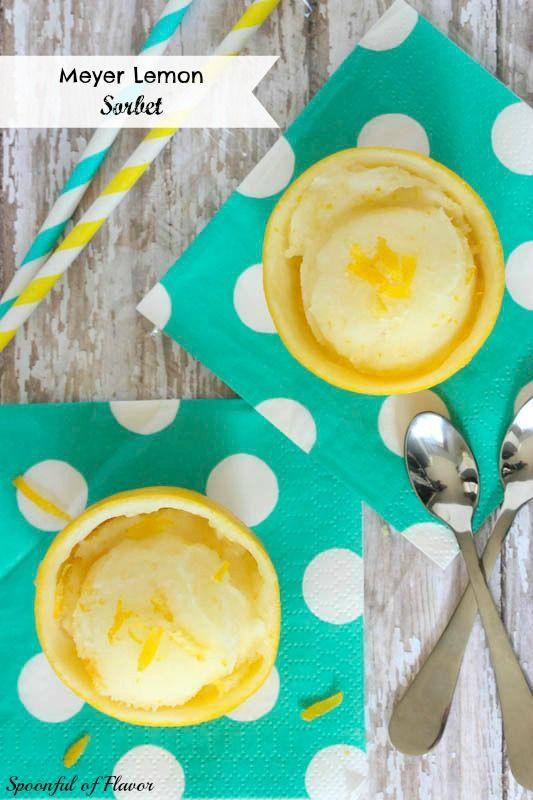 Meyer Lemon Sorbet - Spoonful of Flavor #lemon #sorbet #dairyfree