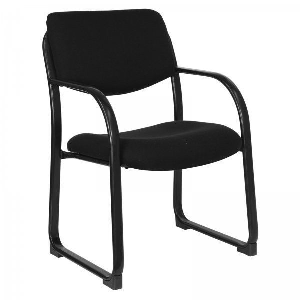"""Fabric Executive Side Chair with Sled Base (Black) (34""""H x 23""""W x 20""""D)"""