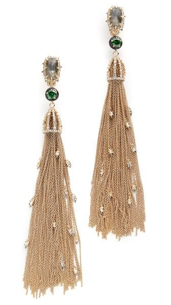 Alexis Bittar Cascading Crystal Clip On Tassel Earrings
