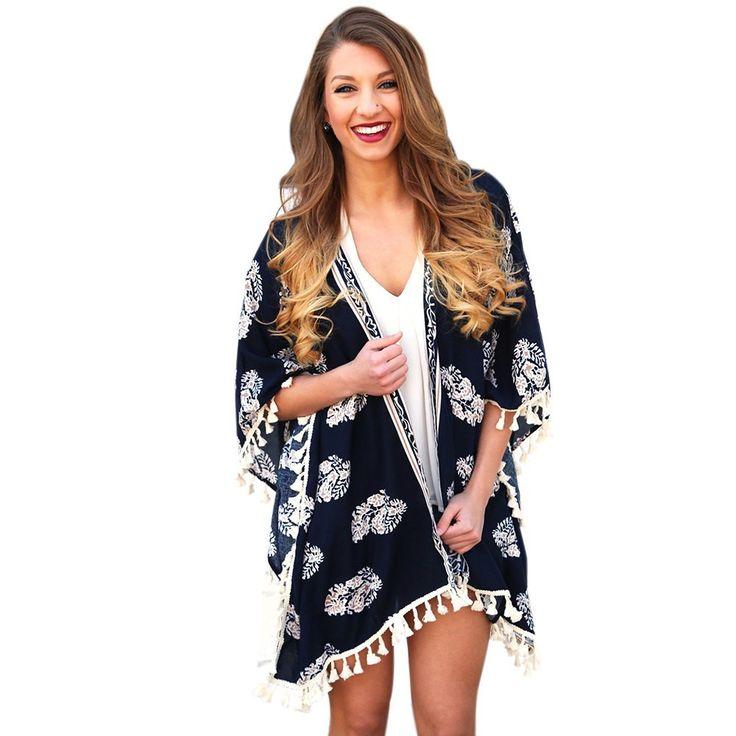 Women Summer Trendy Swimwear Beach Cover Up Print Tassel Loose Irregular Cardigan Bikini Cover Up Plus Szie Beach Dress