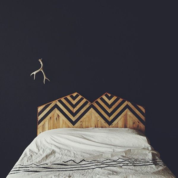 I once made a plywood headboard--used a few layers of shellack and trimmed it with metal edging--this just takes a different cut and some painted stripes to imitate the look! -ooox kel