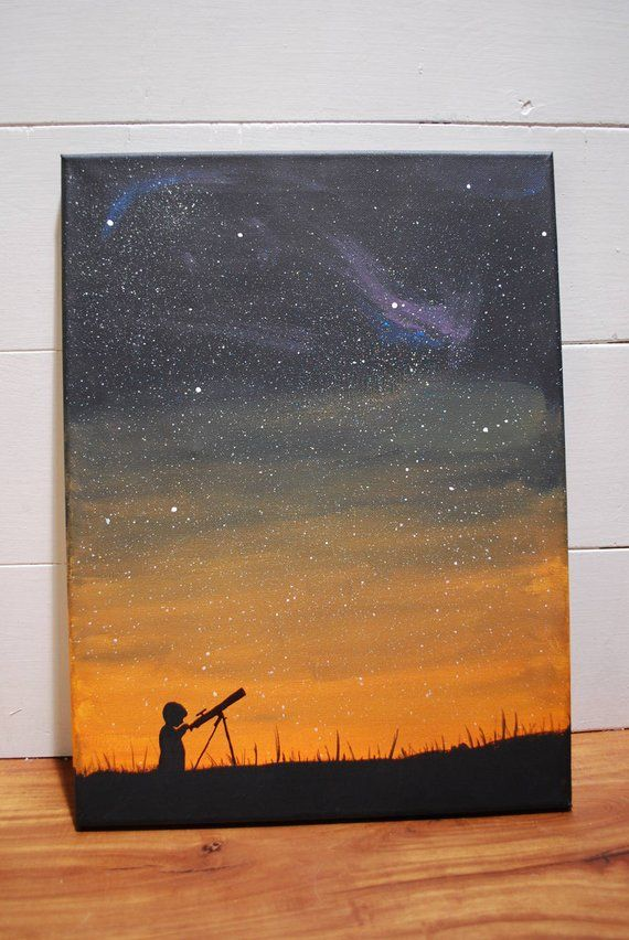 Universe, Stars, Telescope, Star Gazing, Printable Art, Canvas Art, Brushstroke, Canvas Painting, Co