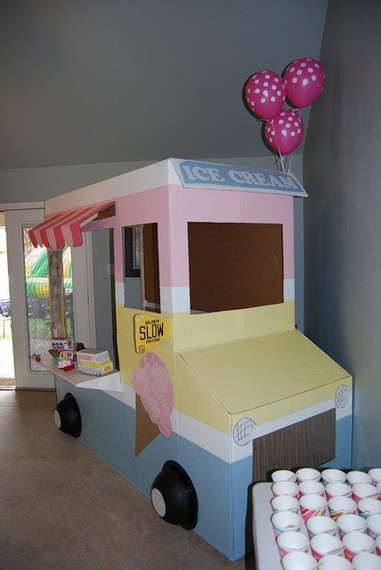 Amazing Ice Cream Party: Life Size Ice Cream Truck, Balloon Ice Cream Cone Decorations, Popcorn Bar Served in Paper Cones and More