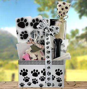 Pet Gift Baskets in Frisco, TX using our darling paw print products.  http://www.nashvillewraps.com/paw-print-packaging/showpage.ww?page=pawprint