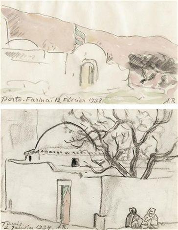 Porto Farina (+ Mausolée à Tunis; 2 works) von Alexandre Roubtzoff