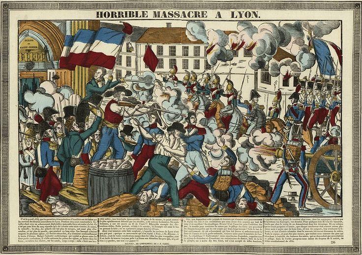 °Lyon - Révolte des Canuts de 1834. Gravure sur bois coloriée, BNF.