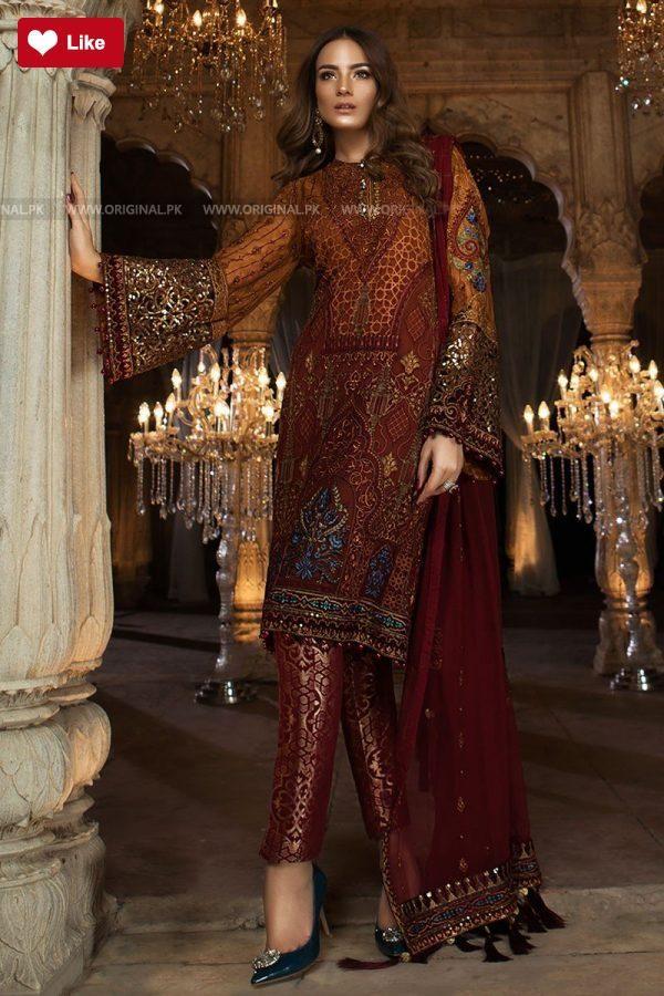 1e05399e5bb Maria B Mbroidered Rust   Maroon BD1407 Eid Collection 2018  Maria B  Maria  BRust   Maroon BD1407  Maria BMbroidered Eid Collection  Maria B2018  Maria  ...