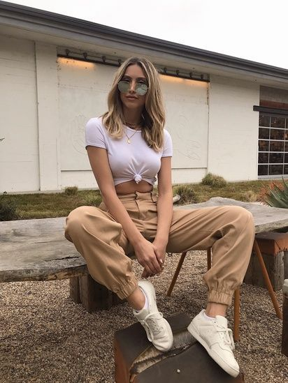 white T-shirt, Tan Jogger
